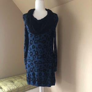 Kensie Cowl Neck Leopard Sweater Dress- Medium